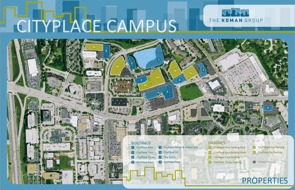 monsanto chesterfield campus map Koman Group Selling 40 Acre City Place Development In Creve Coeur monsanto chesterfield campus map