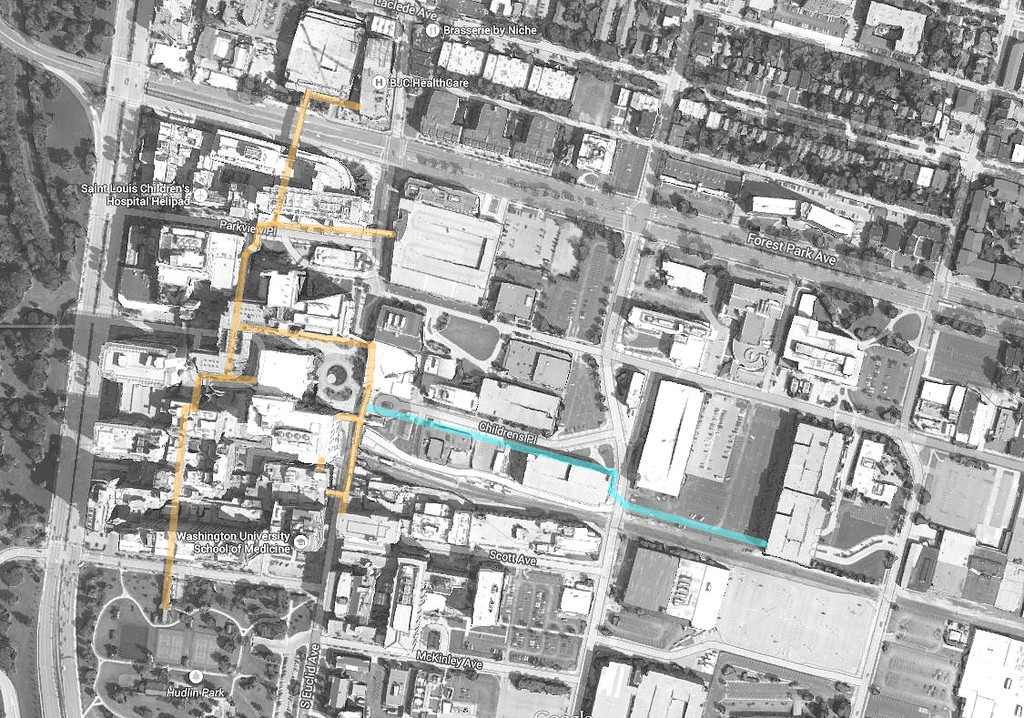aerial map of BJC/WUSM skywalks