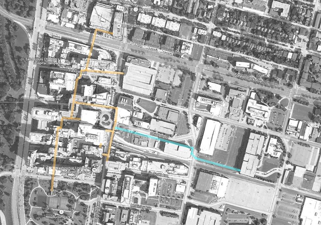 aerial map of BJC/WUSM skywalks
