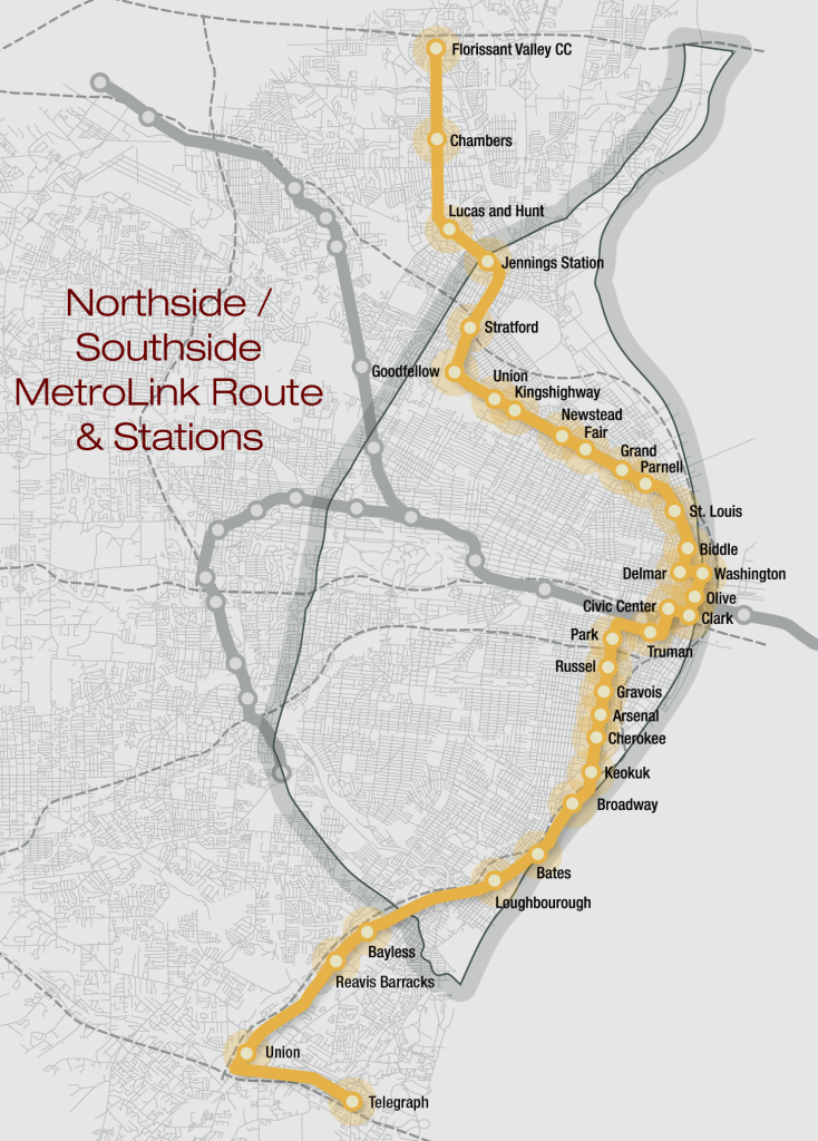 Northside/Southside MetroLink expansion map - St. Louis, MO