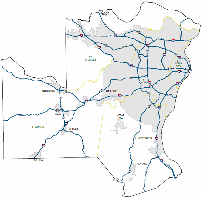 Primary roads in the St. Louis area