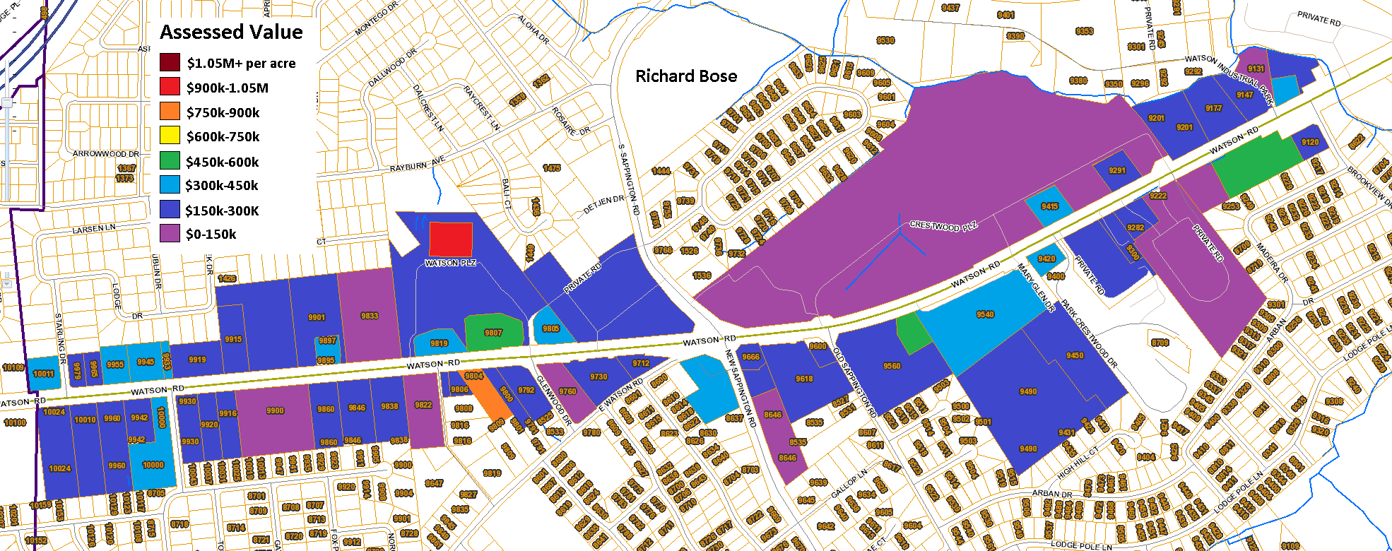 Crestwood Parcels with Colors and Scale