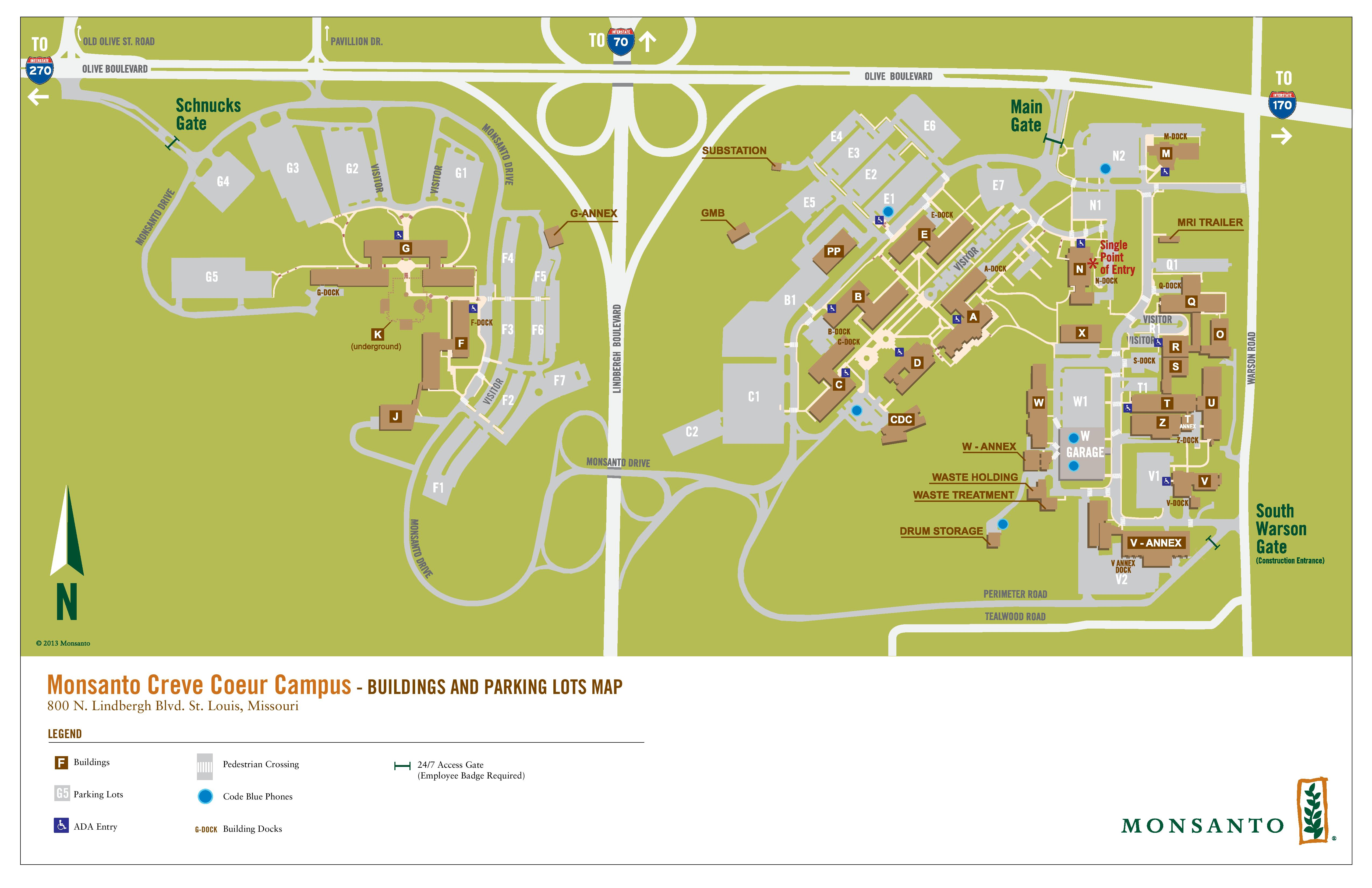 Monsanto campus map