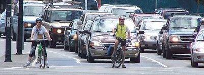 Transportation Secretary Ray LaHood gives cyclists a big happy bear hug