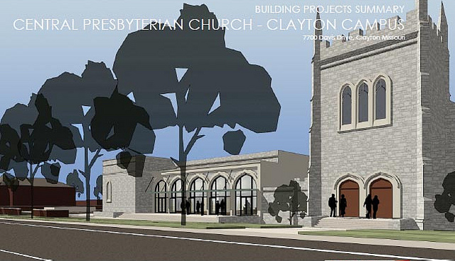Clayton's Central Presbyterian Church Offers Expansion, Reuse Alongside Demo for Parking