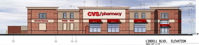 CVS Finally Gets Its Lindell Boulevard Store, Elliptical AAA Building Remains
