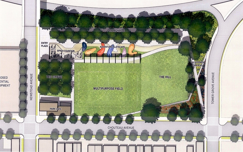 The Grove's Chouteau Park Becomes A Little More Real: neighborhood residents largely shrug