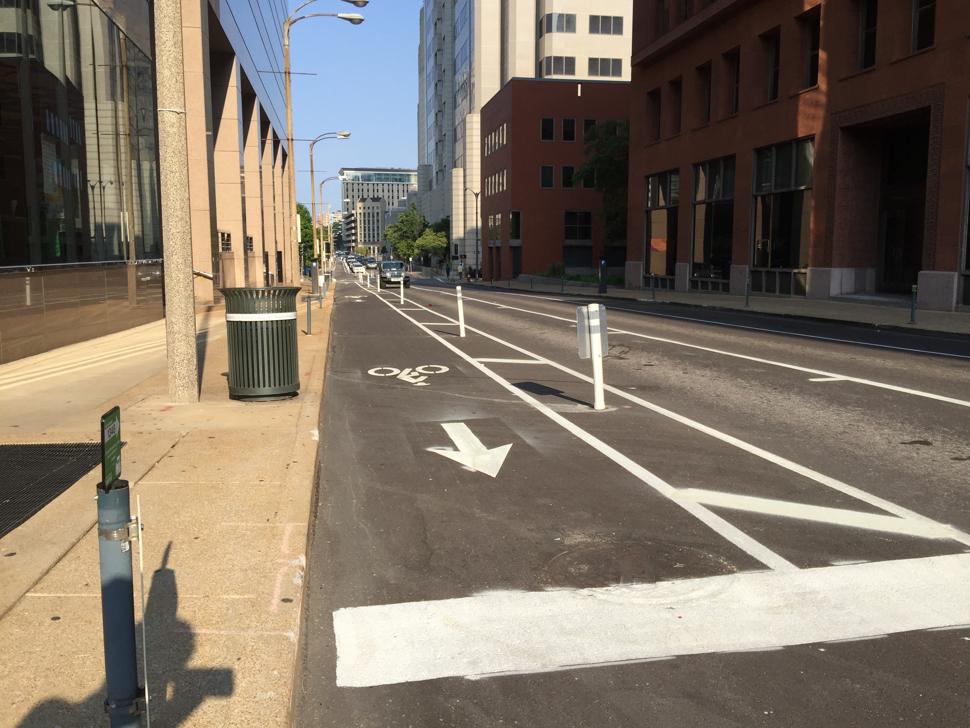 Protected bike lane - St. Louis, MO