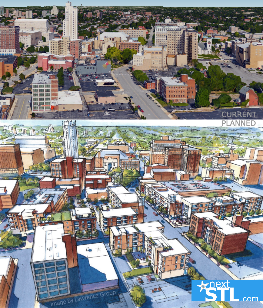 Grand Center aerial rendering before_after