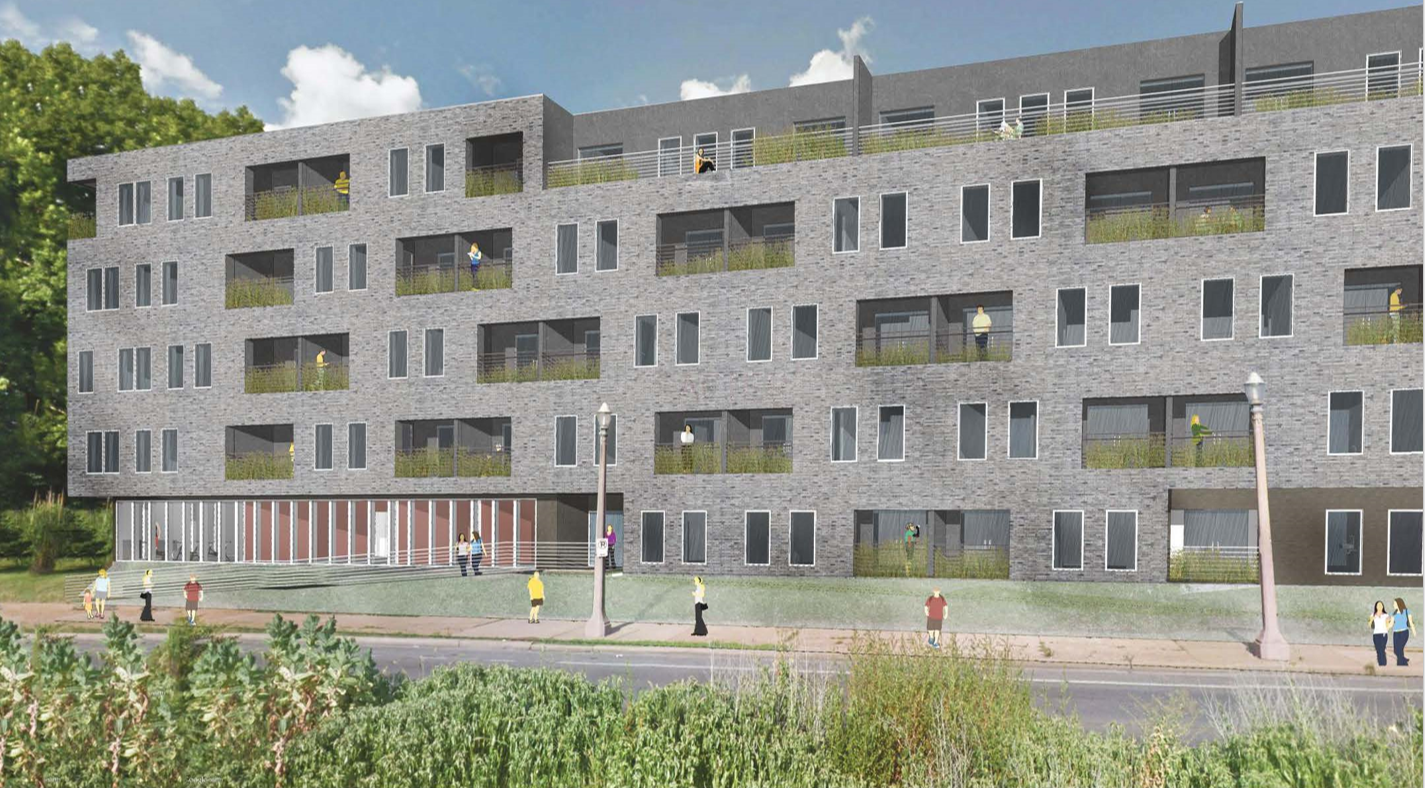 A Newly Available Rendering Shows A Gray Brick 116 Unit Apartment Building  Fronting South Grand.