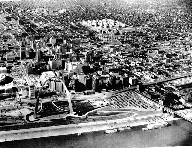 the Arch, downtown St. Louis and Pruitt-Igoe
