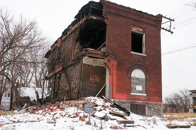 just one of the crumbling structures in The Ville