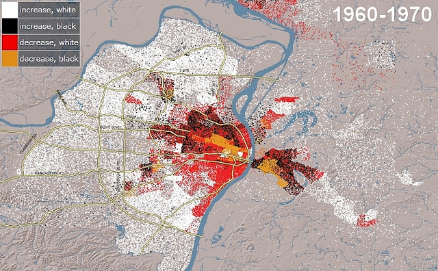 mapping white and black flight from the City of St. Louis