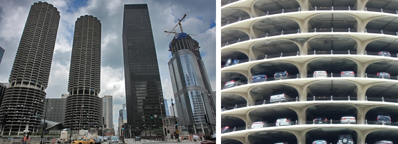 Marina Towers in Chicago blended the parking structure into the building form