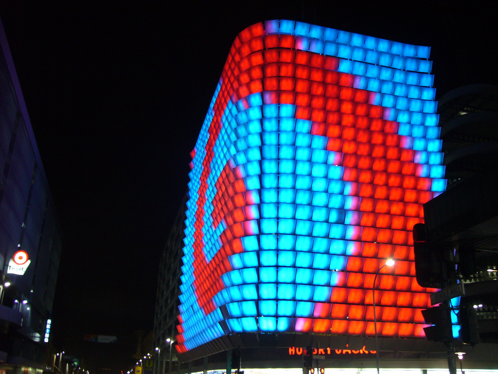light panels cover a parking garage in Adelaide, Australia