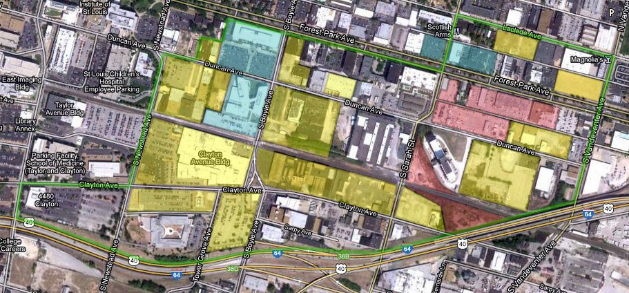 district outline in green - existing buildings in blue - CORTEX owned land in yellow - city/Laclede Gas/Bi-State land in red
