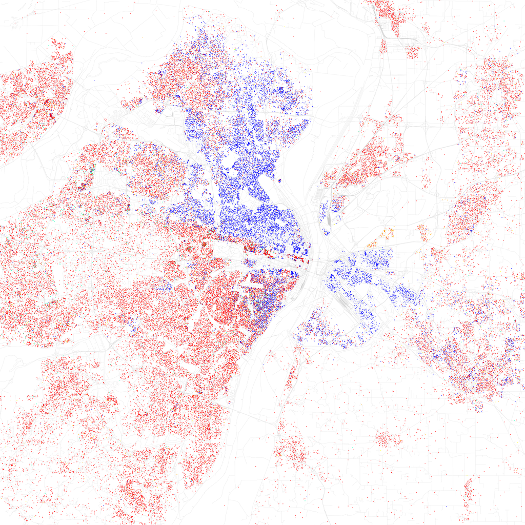 One dot = 10 persons. Blue = black resident, Red = white resident.