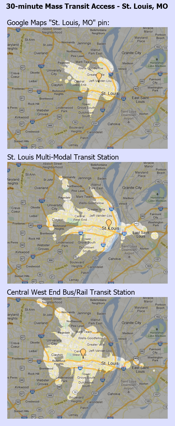 30 Minute Transit Access - St. Louis, MO
