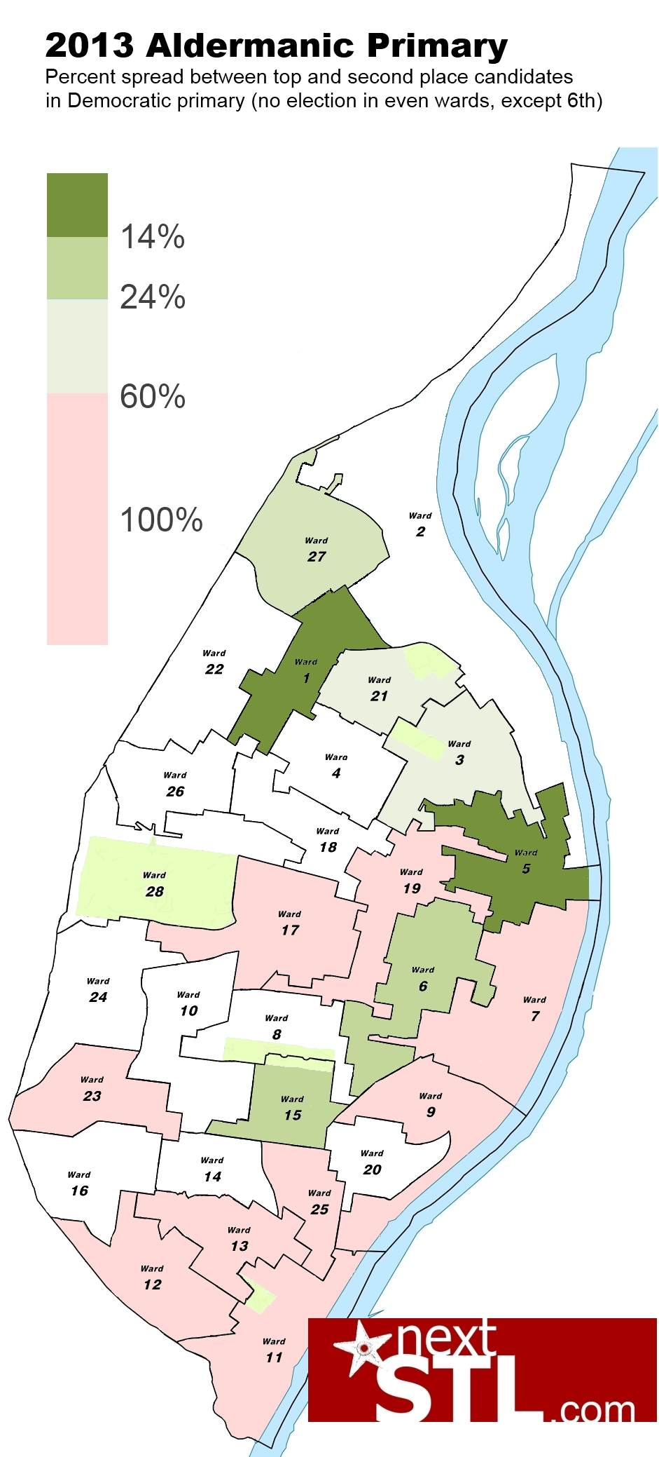 2013 aldermanic primary_vote spread