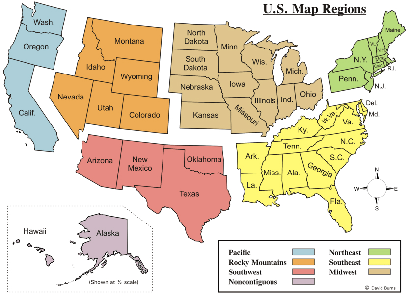 US Regions Map Free USA Region PowerPoint Map Free PowerPoint - Us map hawie state coloring pages