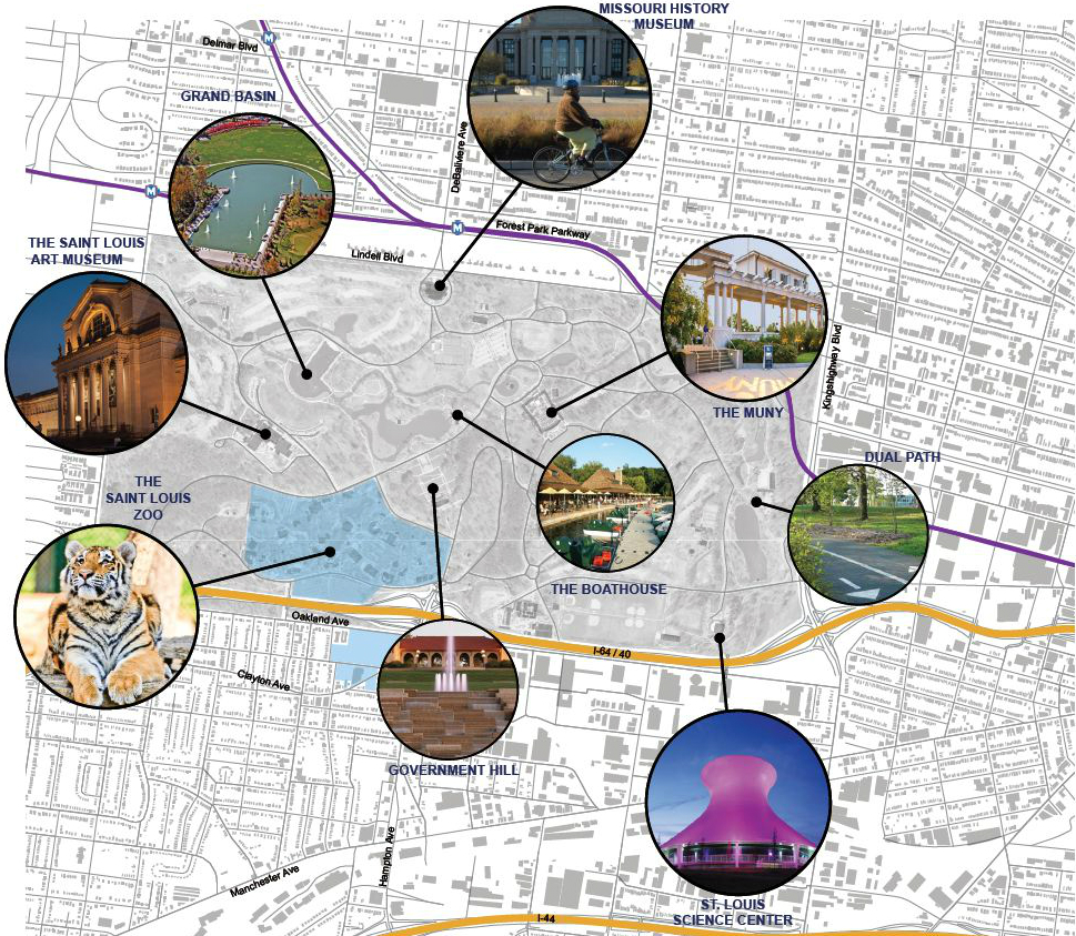 Forest Park major attractions map