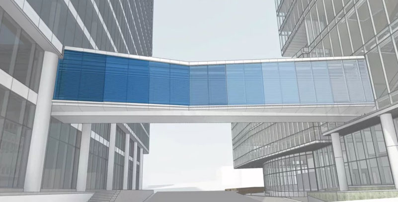 Centene HQ skybridge over Hanley submitted for approval