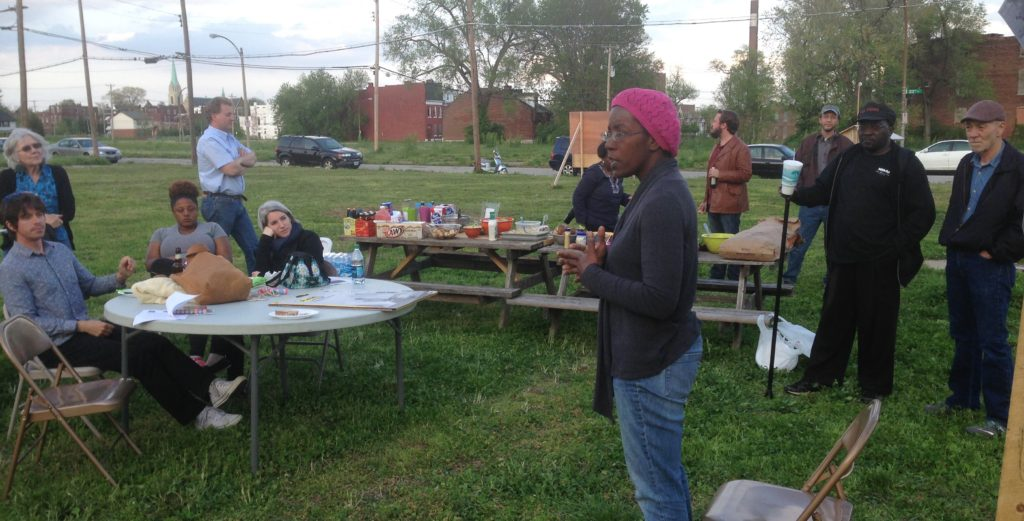 Sheila Rendon, whom the City of St. Louis is trying to evict from her house, discusses the history of her neighborhood at an event held on April 23, 2016