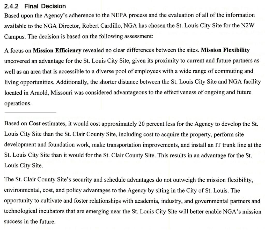 NGA final decision