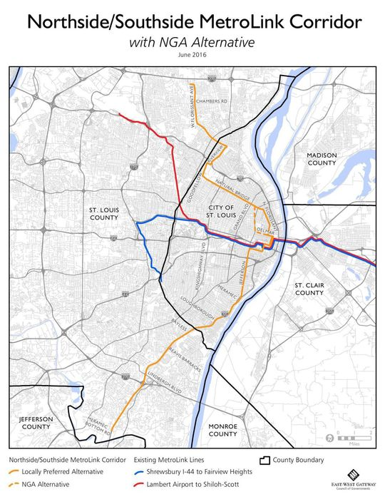 North-South MetroLink map_June 2016