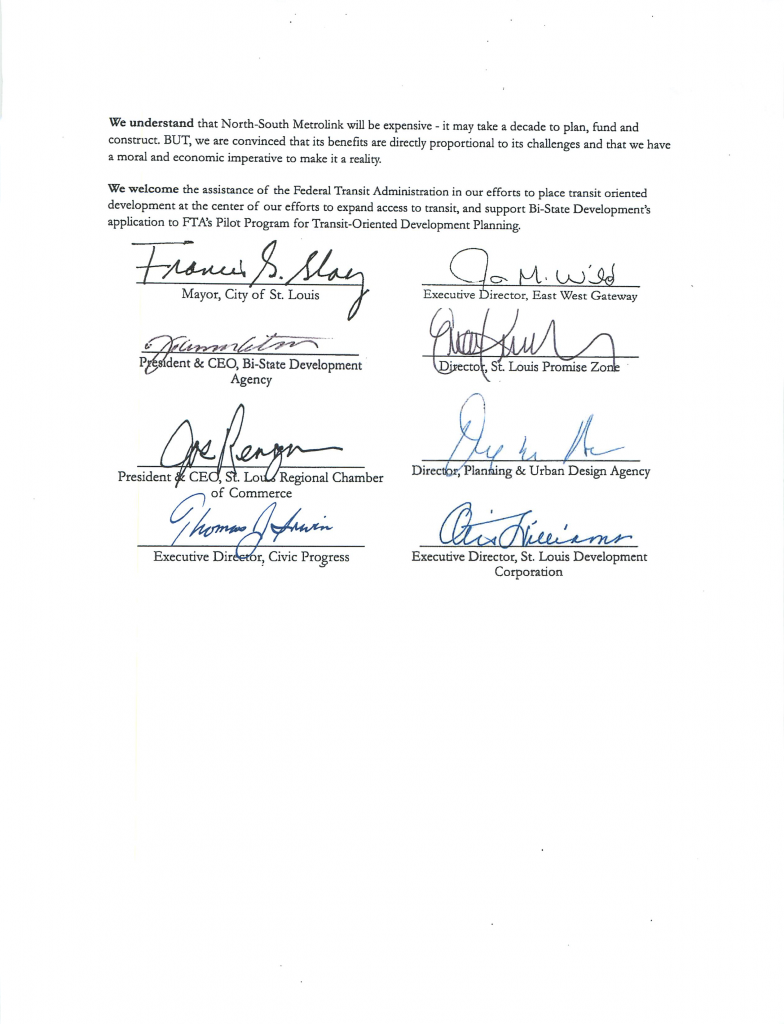 Regional Letter of Support for N-S Metro