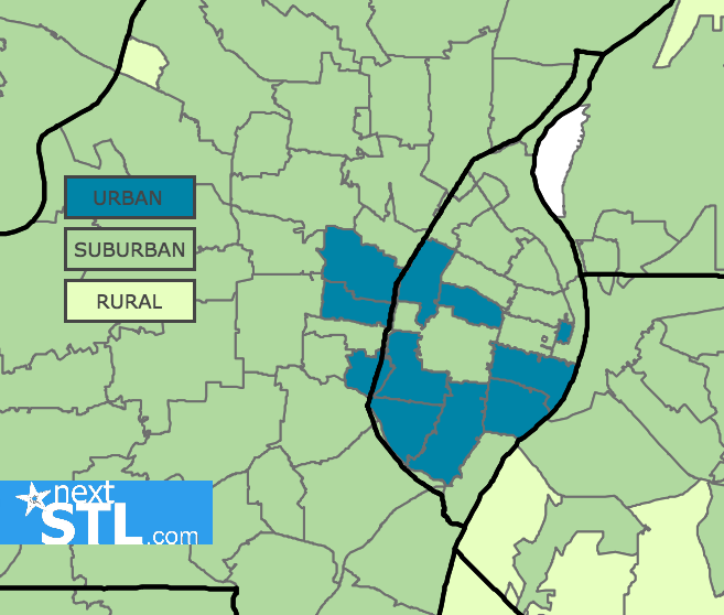 In Search Of Common Definition Of Urban And Suburban St Louis - Rural vs suburb us map